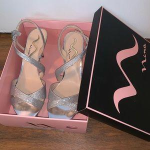 Nina Nazlee Silver Prom Heels